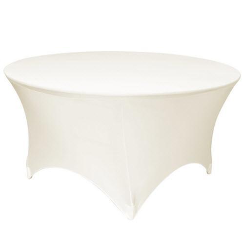 Скатерть стрейч на круглый стол белая