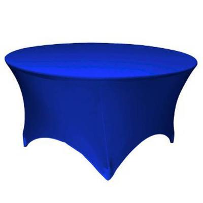 Скатерть стрейч на круглый стол синяя
