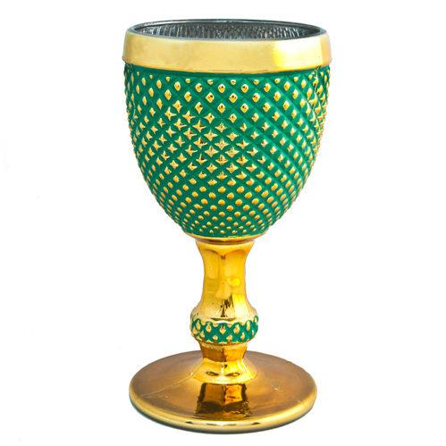 Бокал Ананас зеленый с золотом
