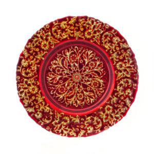 Тарелка Узоры красная
