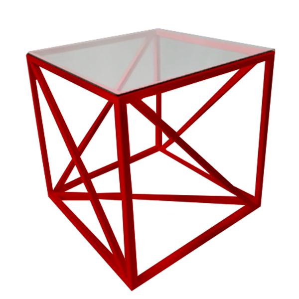 Журнальный стол Loft красный со стеклянной столешницей
