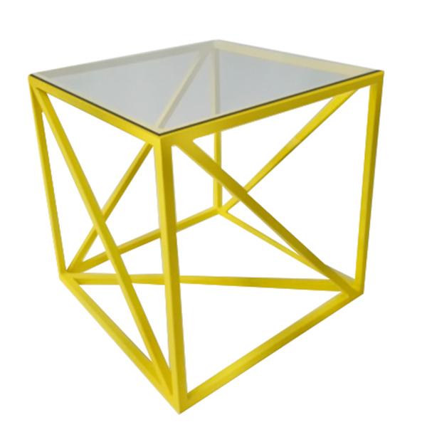 Журнальный стол Loft желтый со стеклянной столешницей